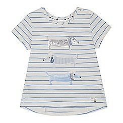 J by Jasper Conran - Girls' white striped sequinned embellished sausage dog t-shirt