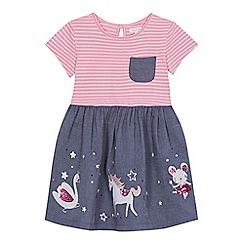 bluezoo - 'Girls' pink striped chambray embroidered unicorn dress