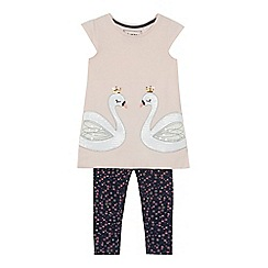 bluezoo - 'Girls' pink sequinned swan tunic and navy leggings set
