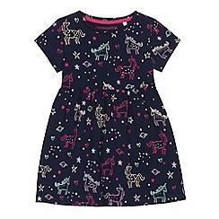 bluezoo - 'Girls' navy unicorn print dress