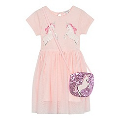 bluezoo - 'Girls' pink sequinned unicorn dress and bag set