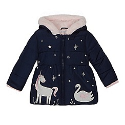 bluezoo - Girls' navy winter scene applique coat