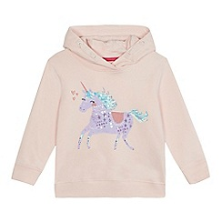 bluezoo - Girls' pink unicorn print hoodie