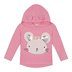 bluezoo - 'Girls' bright pink mouse applique sweater