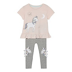 bluezoo - 'Girls' light pink unicorn applique t-shirt and leggings set