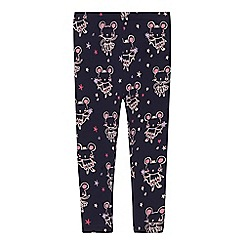 bluezoo - 'Girls' navy ballerina mouse print leggings