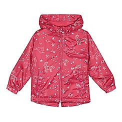 bluezoo - 'Girls' pink unicorn print shower resistant jacket