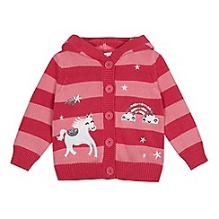 bluezoo - Girls' pink striped unicorn applique cardigan