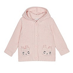 bluezoo - Girls' pink knit mouse pocket cardigan