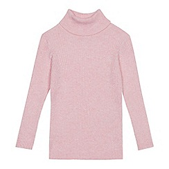 bluezoo - Girls' pink roll neck jumper
