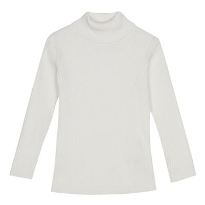 Bluezoo   Girls' Ivory Roll Neck Jumper by Bluezoo
