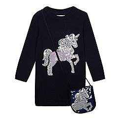 bluezoo - Girls' navy unicorn sequinned tunic with a bag