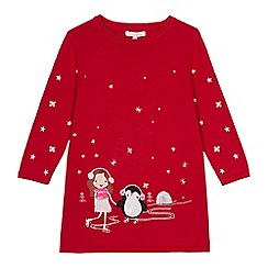bluezoo - Girls' red winter scene knit tunic