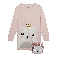 bluezoo - Girls' Pink Fluffy Bear Tunic With a Bag