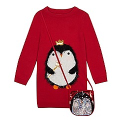 bluezoo - Girls' Red Penguin Applique Tunic Jumper and Bag