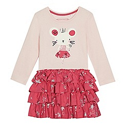 bluezoo - 'Girls' pink mouse applique rara dress