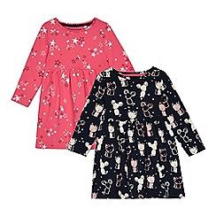 bluezoo - '2 pack girls' multicoloured printed skater dress