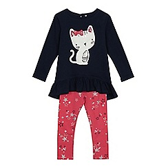 bluezoo - 'Girls' navy cat applique top and pink star print leggings