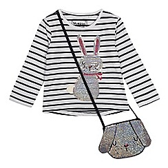 bluezoo - 'Girls' white sequinned bunny top with a bag