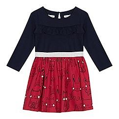 bluezoo - 'Girls' navy frill trim dress