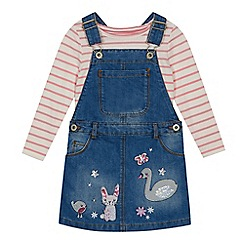 bluezoo - Girls' multicoloured embroidered dunagrees and top set