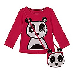 bluezoo - 'Girls' pink sequinned panda top with a bag
