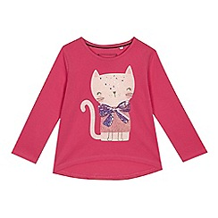 bluezoo - 'Girls' bright pink cat glitter top