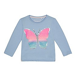 bluezoo - Girls' aqua butterfly embellished top