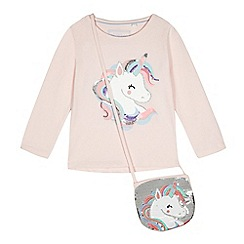 bluezoo - Girls' pink unicorn sequinned t-shirt with a bag
