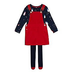 bluezoo - Girls' multicoloured cord dress, top and tights set