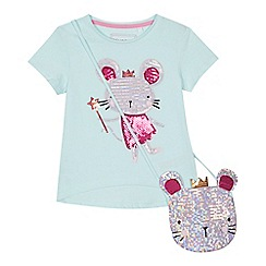 bluezoo - 'Girls' aqua sequinned mouse t-shirt and bag set
