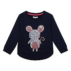 bluezoo - Girls' navy sequinned mouse sweatshirt