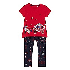 bluezoo - 'Girls' red London carriage t-shirt and navy leggings set