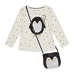 bluezoo - Girls' Off White Sequinned Penguin T-shirt and Bag