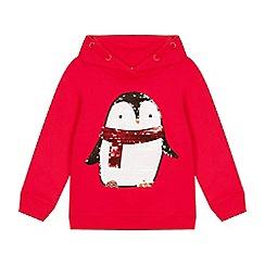 bluezoo - Girls' Red Sequinned Penguin Hoodie