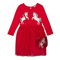 bluezoo - Girls' red sequinned unicorn dress and bag