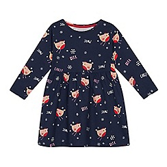 bluezoo - Girls' navy robin print dress