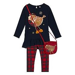 bluezoo - Girls' Multicoloured Sequined Top, Leggings and Bag Set