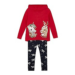 bluezoo - Girls' multicoloured sequined hoodie and leggings set