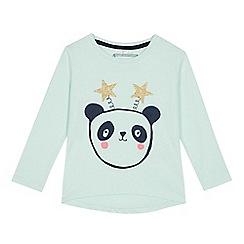 bluezoo - Girls' light green panda print cotton top