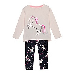 bluezoo - Girls' Multicoloured Unicorn Print Pyjama Set