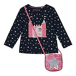 bluezoo - Girls' navy sequinned castle embroidered top with a bag