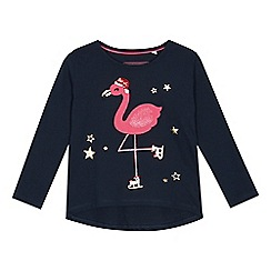 bluezoo - Girls' Navy Skating Flamingo Cotton Top