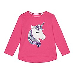 bluezoo - Girls' pink sequinned unicorn top