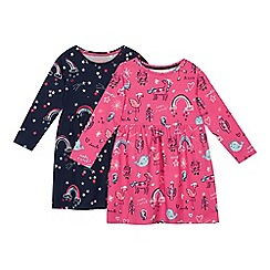 bluezoo - 2 pack girls' pink and navy rainbow print dress