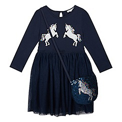 bluezoo - Girls' navy sequinned unicorn dress and bag
