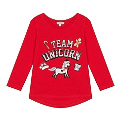 bluezoo - Girls' Red Sequinned Unicorn Christmas Top