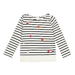J by Jasper Conran - Girls' white breton stripe embellished long sleeve t-shirt
