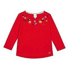 J by Jasper Conran - Girls' red floral applique cotton top