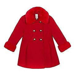 J by Jasper Conran - Girls  Red Faux Fur Trim Coat 8fcd459216a1